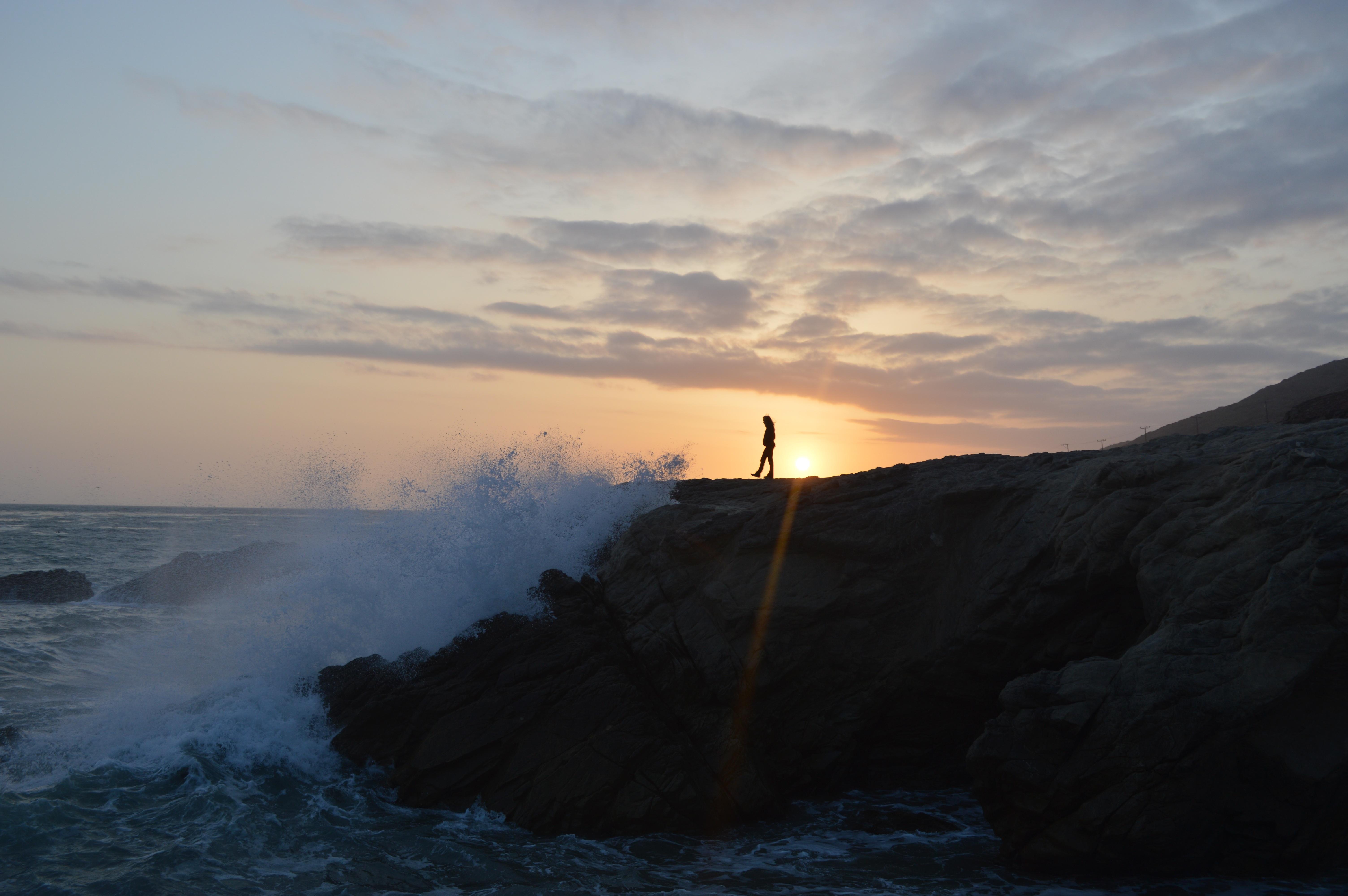 Cliff waves sunset_cam adams_stocksnap