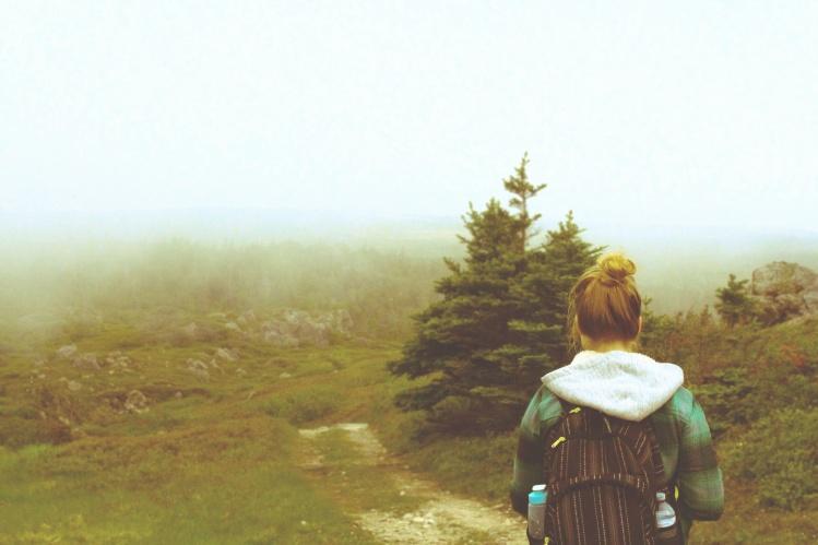 Girl Hiking MIsty Path_Blake Moulton_Stocksnap