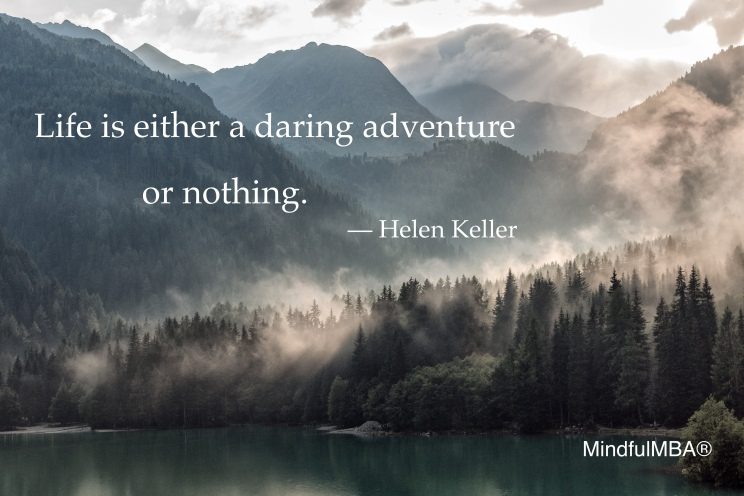 H Keller daring adventure quote w tag